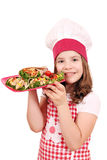 Little girl cook with burritos Royalty Free Stock Image