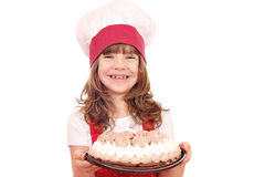 Little girl cook with cake Stock Photos