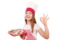 Little girl cook with cherry pie Royalty Free Stock Photography
