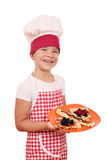 Little girl cook with crepes Stock Photo