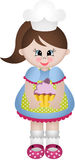 Little girl cook with cupcake Royalty Free Stock Image