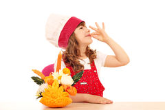 Little girl cook with decorated salad Royalty Free Stock Image