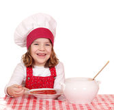 Little girl cook eat soup Stock Photo