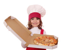 Little girl cook hold pizza Royalty Free Stock Photography