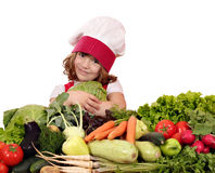 Little girl cook hold cabbage Stock Photography