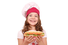 Little girl cook with hot dog Royalty Free Stock Photography