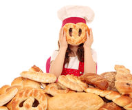 Little girl cook with pretzel Royalty Free Stock Images