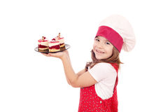 Little girl cook with raspberry cake Royalty Free Stock Image