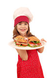 Little girl cook with sandwiches Stock Images