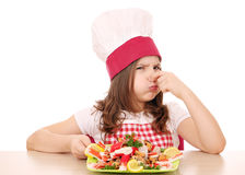 Little girl cook with seafood Royalty Free Stock Photography