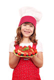 Little girl cook with spaghetti Royalty Free Stock Image
