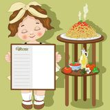 Little girl cook with spaghetti and menu Royalty Free Stock Photography