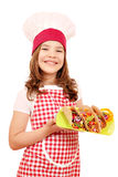 Little girl cook with tacos fast food Stock Photos