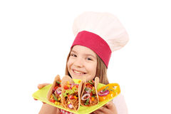 Little girl cook with tacos fast food Royalty Free Stock Photo