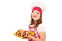 Little girl cook with tacos fast food Stock Photo