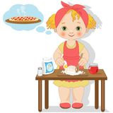 Little girl cooking a cake with jam Royalty Free Stock Photos