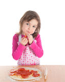Little girl cooking pizza Stock Photography