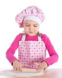 Little girl cooking pizza Royalty Free Stock Photo