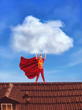 Little girl in costume holding a big cloud Stock Photo