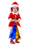 Little girl in costume of Santa Claus Royalty Free Stock Images