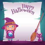 Little girl in costume of witch with black kitten and broom. Happy Halloween party. Editable template with text space. Poster with little girl in costume of royalty free illustration