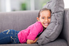 Little girl couch Royalty Free Stock Photo