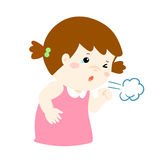 Little girl coughing  cartoon. Little girl coughing  cartoon illustration Stock Image