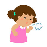 Little girl coughing  cartoon. Little girl coughing  cartoon illustration Stock Photography