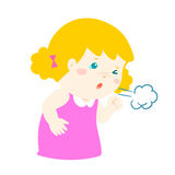 Little girl coughing  cartoon. Little girl coughing  cartoon illustration Royalty Free Stock Photos