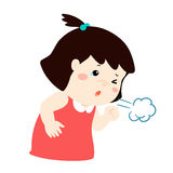 Little girl coughing  cartoon. Little girl coughing  cartoon illustration Stock Photos