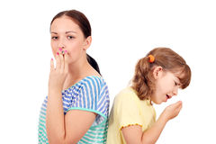 Little girl coughing Stock Photography