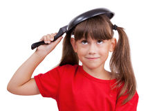 Little girl cover with pan Royalty Free Stock Image