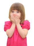Little girl with covered his mouth Royalty Free Stock Image