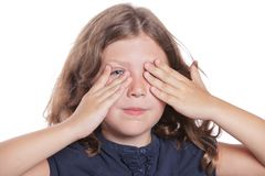 Little Girl Covering Eyes Stock Images