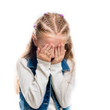 Little girl covering face with hands Royalty Free Stock Photography