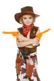 Little girl cowboy holding guns. Little girl with wearing cowboy costume holding guns, over white backgrounf Royalty Free Stock Images