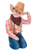 Little girl in a cowboy outfit stock images