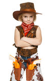 Little girl cowboy standing with folded hands. Little girl wearing cowboy costume standing with folded hands, over white background Royalty Free Stock Photo