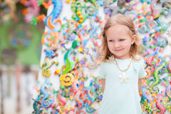 Little girl at crafts market Stock Photography