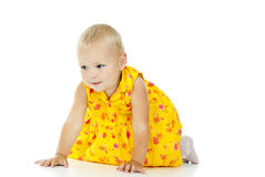 Little girl crawls royalty free stock photo
