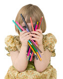 Little girl with crayons Royalty Free Stock Photography