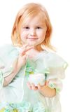 Little girl with cream Stock Images