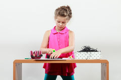 Little girl create composition Royalty Free Stock Image
