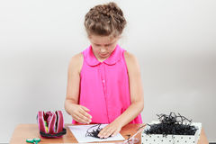 Little girl create composition Stock Images
