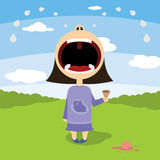Little girl cries over ice cream Stock Image