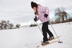 Little girl cross-country skiing Stock Photography