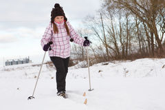 Little girl cross-country skiing Stock Images