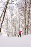 Little girl cross-country skiing Stock Photos