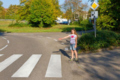 Little girl on a crossroad Stock Image