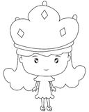 Little girl with a crown coloring page. Useful as coloring book for kids Stock Photo